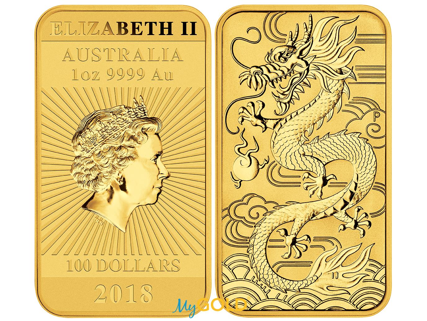 Buy 1oz Perth Mint Gold Rectangular Dragon Bullion Bar from MyGold.