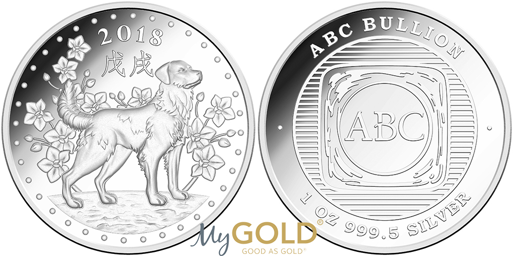Buy 1oz ABC Bullion Minted Lunar Dog Coin Silver from MyGold