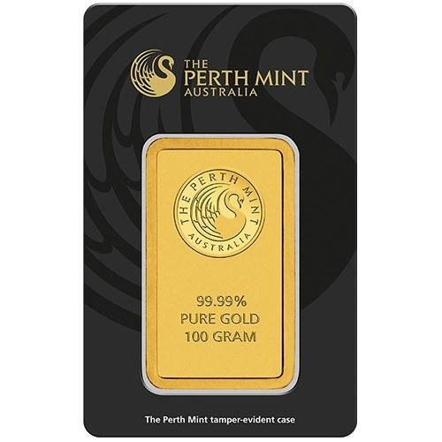 100g Perth Mint Gold Minted Bar New Zealand