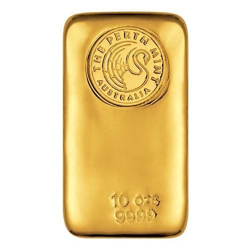 10oz Perth Mint Gold Bullion Bar New Zealand